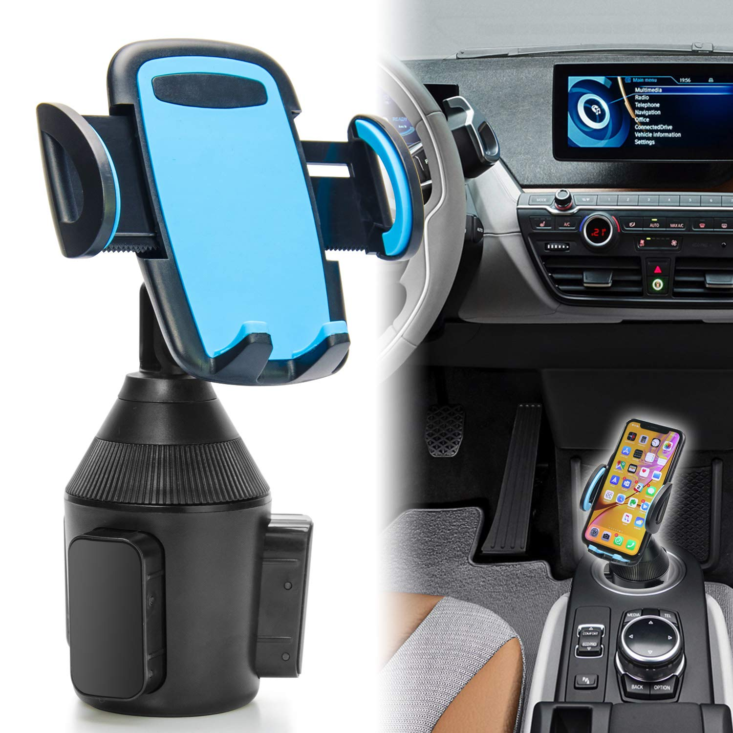 TOPGO Universal Adjustable Cup Holder Cradle Car Mount for Cell Phone iPhone Xs/XS Max/X/8/7 Plus/Galaxy (Blue)