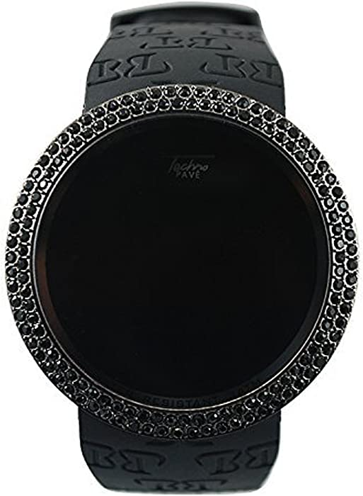 Amazon.com  Techno Pave Iced Out Bling Lab Diamond Black on Black Digital  Touch Screen Sports Smart Watch with Rubber Silicone Band  Watches 868bb071a9