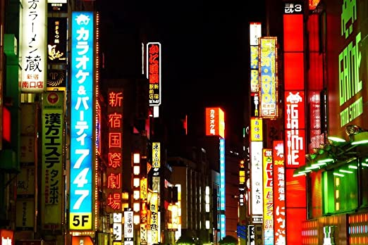 Amazon Com Neon Signs In Shinjuku Ward Tokyo Japan Photo Photograph Cool Wall Decor Art Print Poster 36x24 Posters Prints