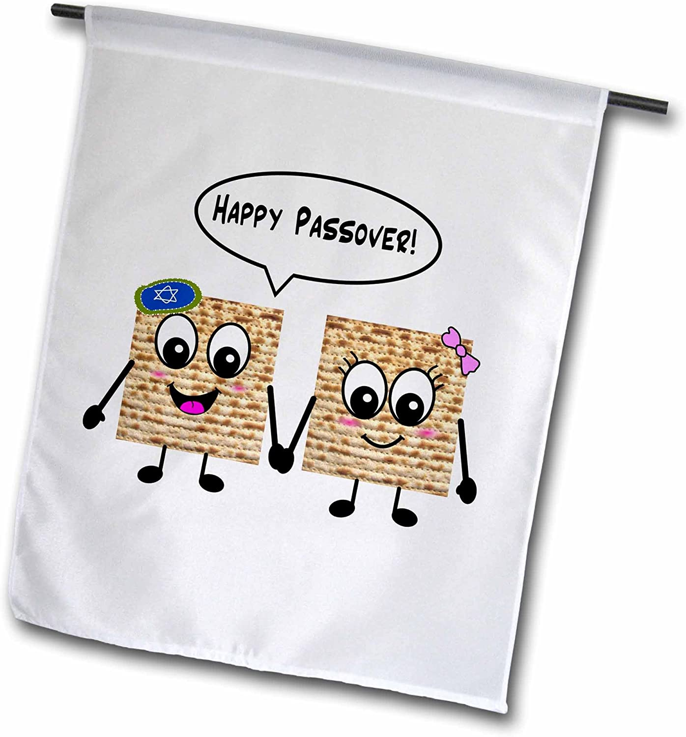3dRose fl_76636_1 Happy Passover Cute Smiley Matzah Cartoon Happy Smiling Matzot for Pesach Jewish Holiday Gifts Garden Flag, 12 by 18-Inch