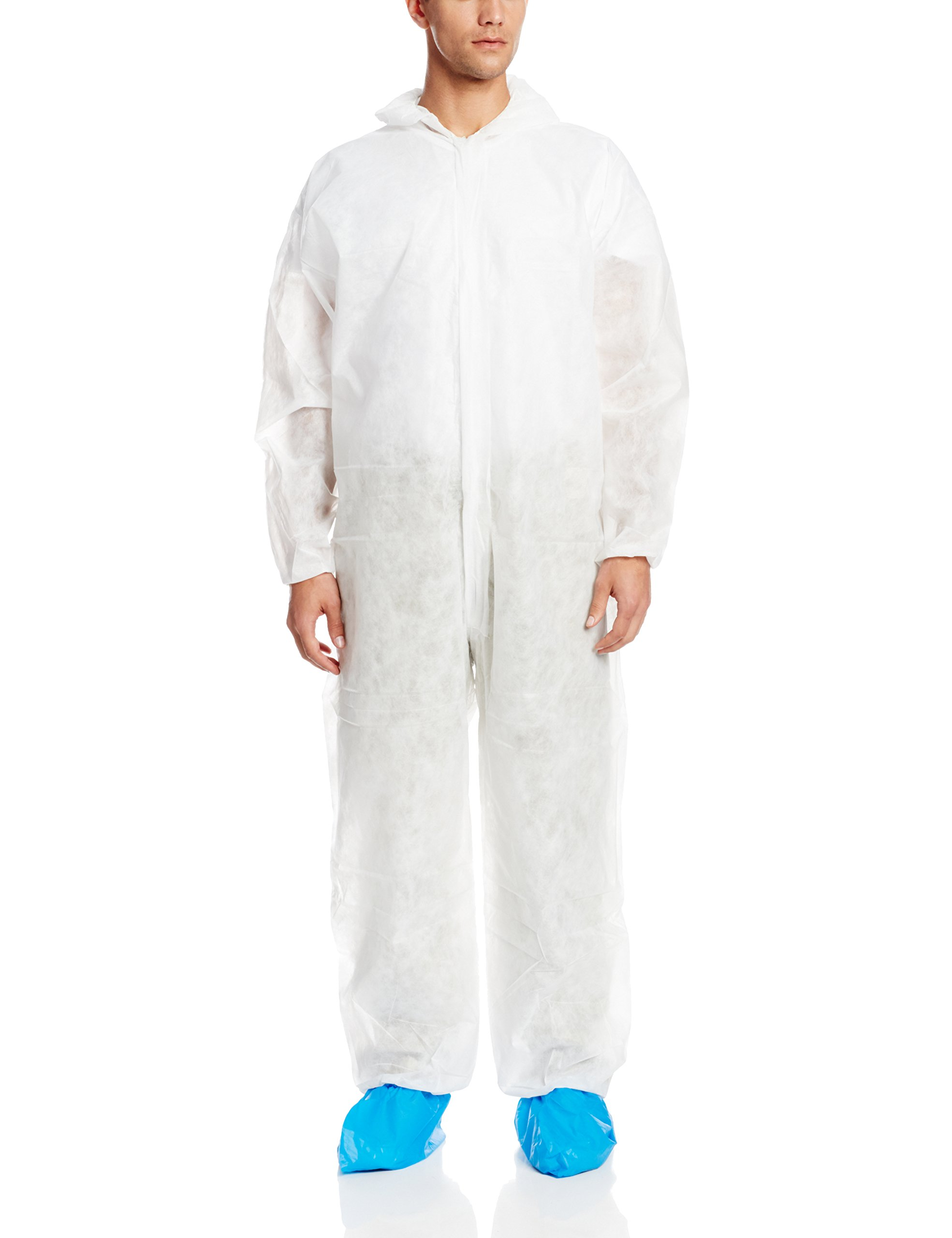 ValuMax 4204WH2XL Polypro-2 Disposable Polypropylene Coverall, 47 Gram Fabric, Hood (No Boot), Elastic Cuffs, White, 2XL, Case of 25