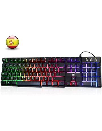 Rii RK100+ Gaming Teclado Retroiluminado con 5 colores arco iris. Tacto mecánico y alta sensibilidad