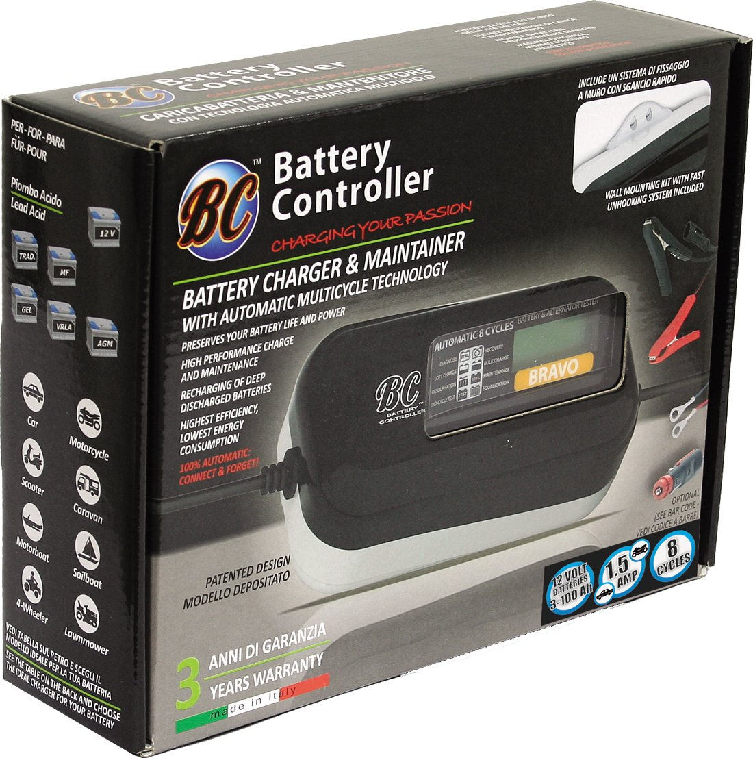 Battery Charger//Maintainer and Battery /& Alternator Tester BC BRAVO 1500 Multilanguage discontinued by manufacturer UK Plug