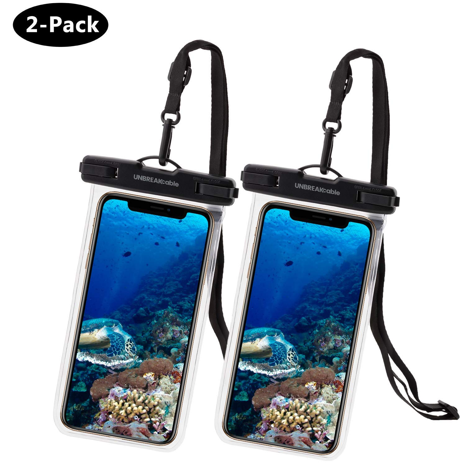 UNBREAKcable Universal Waterproof Case 2 Pack - IPX8 Waterproof Phone Pouch Dry Bag for iPhone Xs Max XR XS X 8 7 6s 6 Plus, Samsung S10+ S10 S10e S9 S8, Google Pixel 2, Up to 6.6 inch by UNBREAKcable