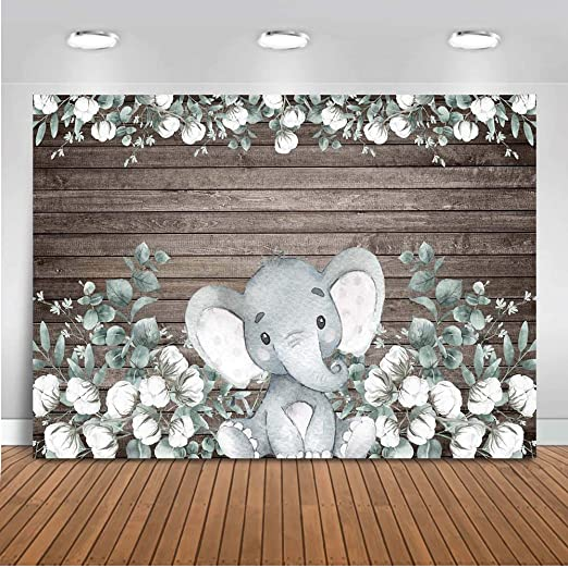 Yeele 5x5ft Blue Elephants Backdrop Happy Girl Birthday Party Photography Background Baby Shower Birthday Dessert Table Decoration Kids Adults Artistic Portrait Cake Smash Photo Shoot Props