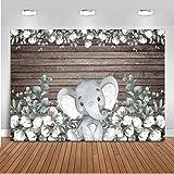 Mocsicka Elephant Backdrop 7x5ft Elephant Gender Neutral Party Banner Photo Backdrops Rustic Wood Cotton Elephant Baby Shower Photography Background