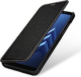 StilGut Book Type Case, Custodia per Samsung Galaxy A8 (2018) a Libro Booklet in Vera Pelle, Nero