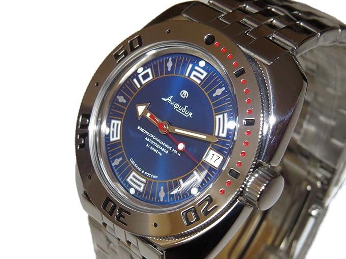 Vostok 710406 de anfibios/2416b ruso Militar reloj automático buzos 200 M color azul: Vostok: Amazon.es: Relojes