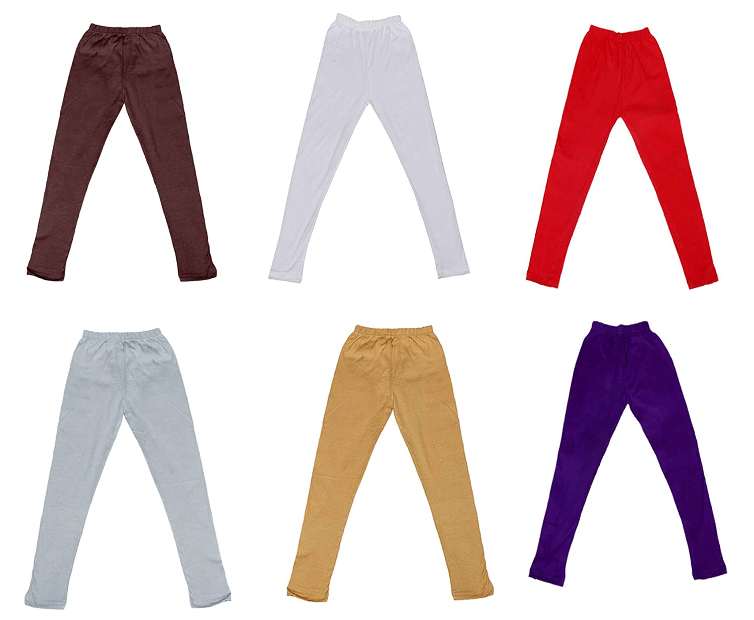 Pack of 6 Indistar Cotton Super Soft Solid Multicolor Leggings for Girls