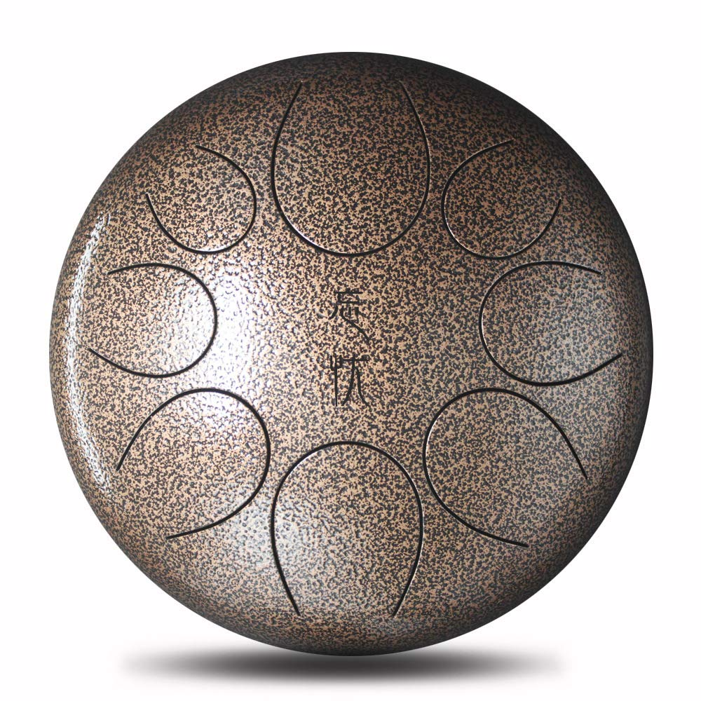 Steel Tongue Drum Handpan Drum 8 Notes 10 Inches Percussion Instrument with Padded Travel Bag & Gift Aikeec