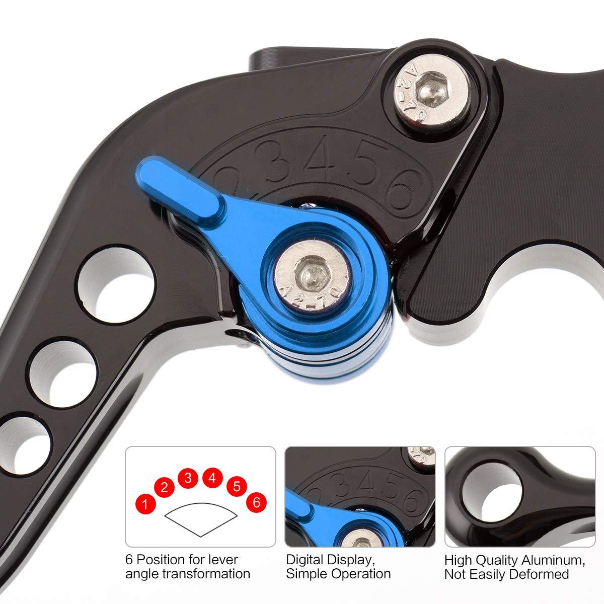 Palancas de embrague de freno corto de motocicleta CNC 6 posiciones ajustables para Yamaha Warrior YFM 350 YFM350 2002-2004 Raptor YFM660 2001-2004 Oro con negro XT660 XT660R XT660X 2004-2013