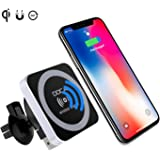 QI Wireless Car Charger Mount Holder,Magnetic Wireless Car Charger,Magnet Car Cradle Charging Holder for iPhone X iPhone 8/8 Plus Galaxy Note 8 S8/S8 Plus S7 Edge and Others Qi Enabled Phones