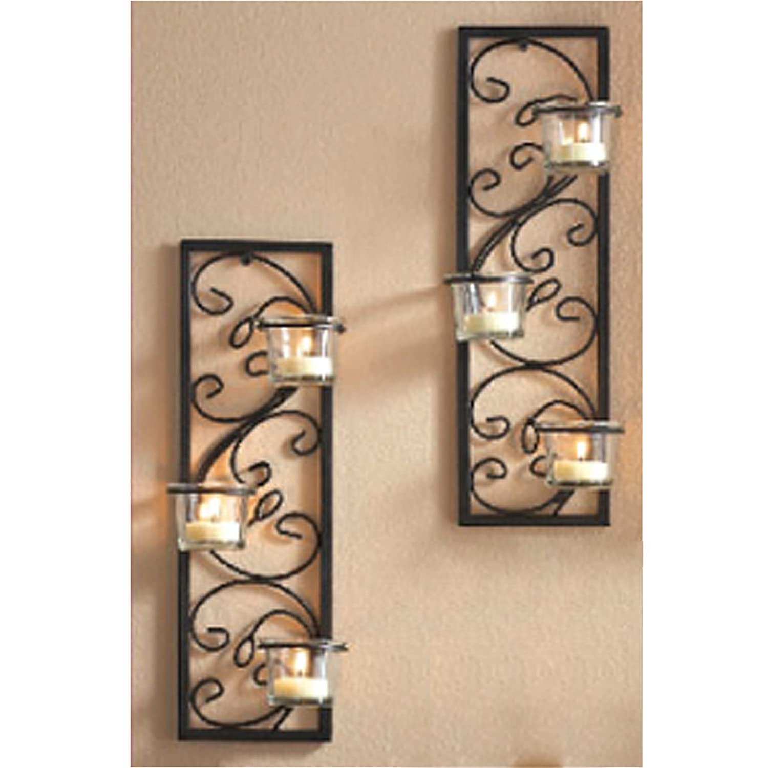 Amazon hosley set of two 1375 high black iron tealight amazon hosley set of two 1375 high black iron tealight wall sconce handmade by artisans ideal gift for wedding party led votive candle gardens amipublicfo Images