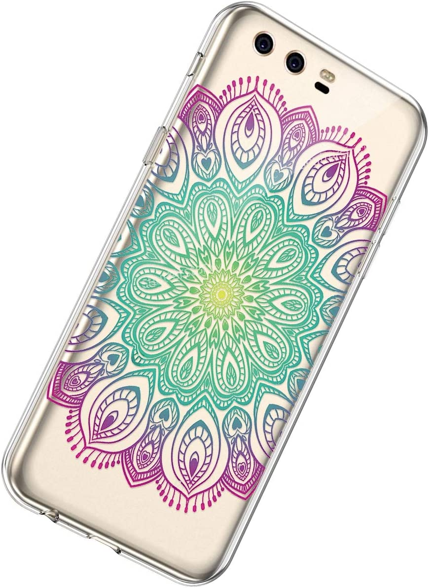 Herbests Compatible with Huawei P10 Plus Case Cute Women Girls Mandala Flower Pattern Crystal Clear TPU Transparent Scratch Resistant Protective Back Cover,Mandala Flower Red Green