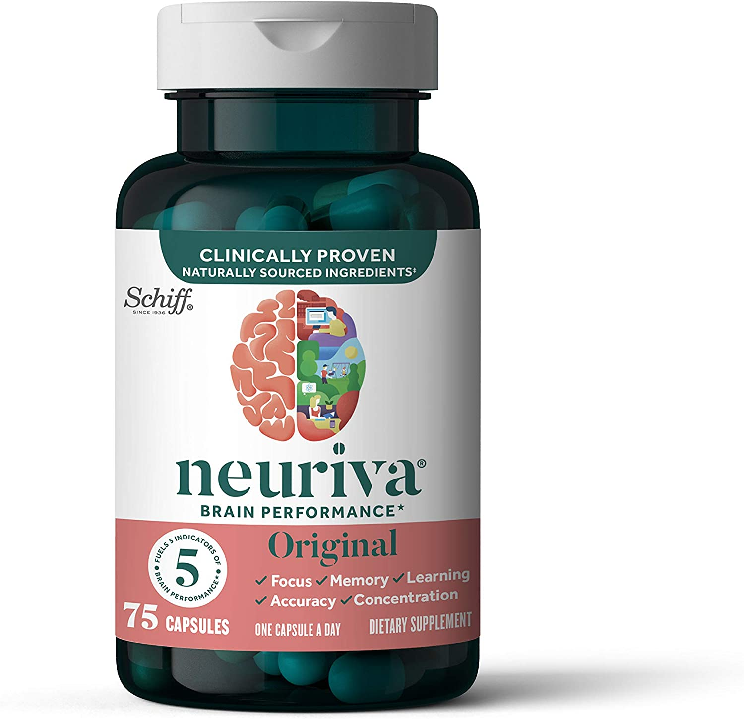 Nootropic Brain Support Supplement - NEURIVA Original Capsules (75 count in a bottle) Phosphatidylserine, Gluten Free, Decaffeinated - Supports Focus, Memory, Learning, Accuracy & Concentration