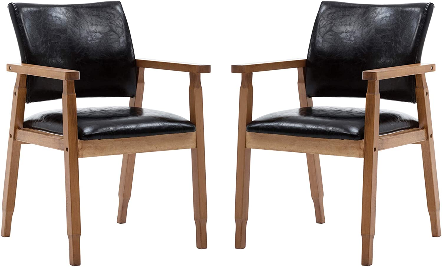 Amazon Com Nobpeint Mid Century Dining Side Chair With Faux Leather Seat In Black Arm Chair In Walnut Set Of 2 Kitchen Dining
