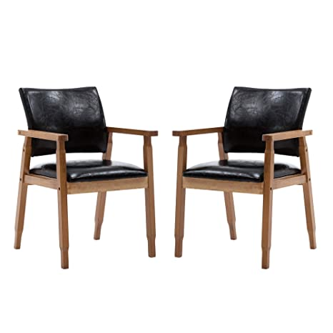 Superb Nobpeint Mid Century Dining Side Chair With Faux Leather Seat In Black Arm Chair In Walnut Set Of 2 Alphanode Cool Chair Designs And Ideas Alphanodeonline