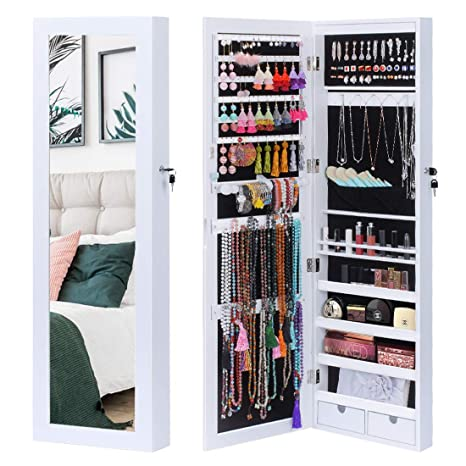 King Bird Jewelry Organizer 15 Leds Light Lockable Jewelry Armoire Storage Holder Box Door Wall Mounted Jewelry Cabinet With Full Length Mirror And 2