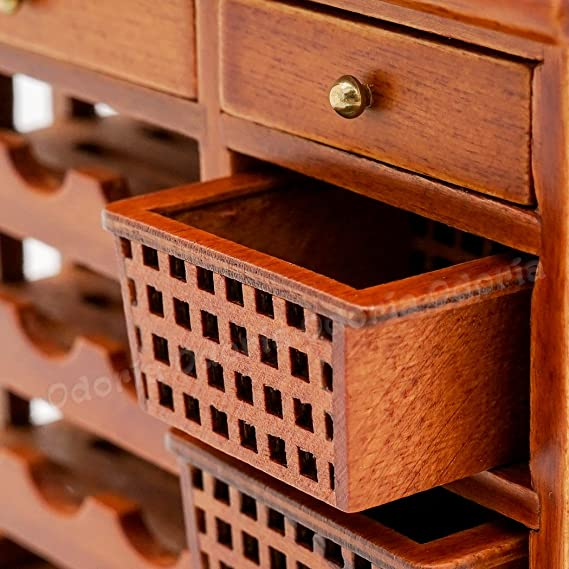 Odoria 1//12 Miniatur M/öbel Weinregal mit Schublade Flaschenregal Holz Braun F/ür Puppenhaus M/öbel Zubeh/ör