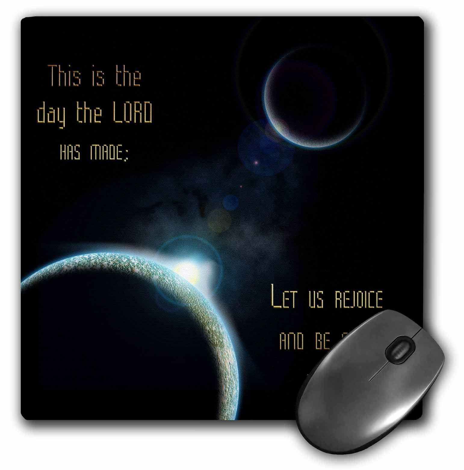 3dRose 8 x 8 x 0.25 Inches Mouse Pad, A Sun Announcing A New Dawn Over A Solar System (mp_99100_1)