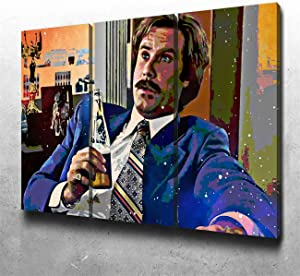NATVVA 3 Piece Canvas Prints Wall Art Paintings Ready to Hang for Living Room Home Decor Ron Burgundy Large Modern Stretched and Framed Pictures on Canvas Artwork
