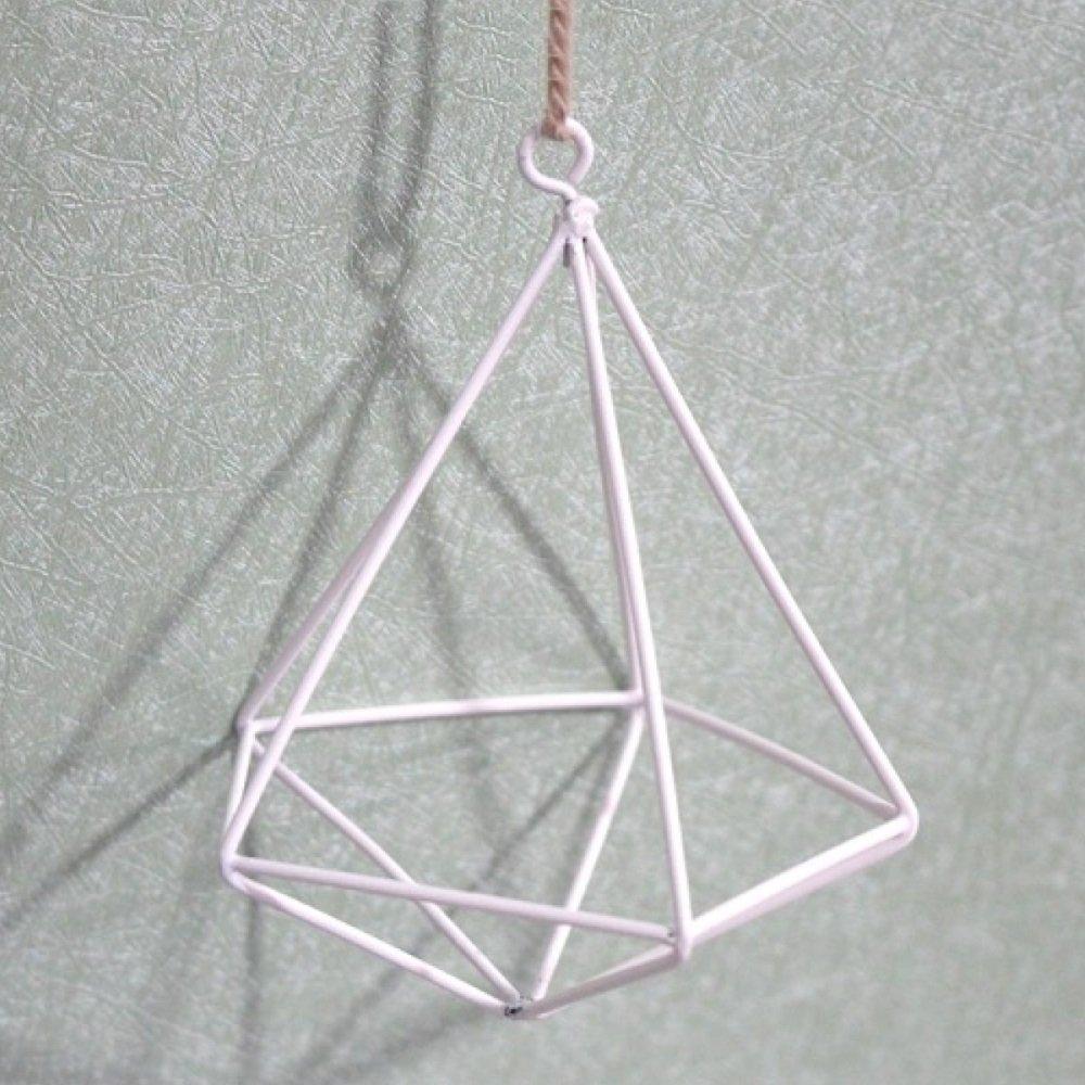 L;IAN Flower Pots Rack, Flower Rack Modern Stylish Iron Art Geometric Brass Diamond Shape Plant Stand Soilless Cultivation Flower Display (Color : White)