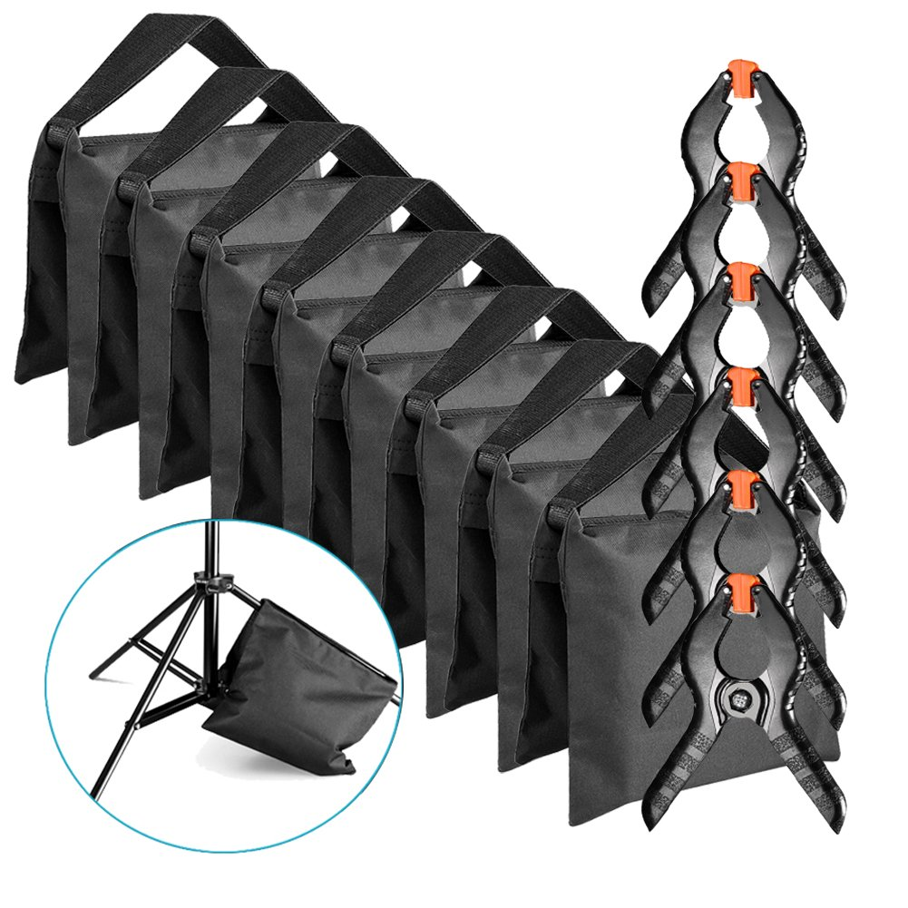 Neewer 8-Pack Heavy Duty Sandbag (Black) for Photo Studio Light Stands Boom Arms with 6-Pack Muslin Backdrop Spring Clamps Clips (Empty Sandbag) by Neewer