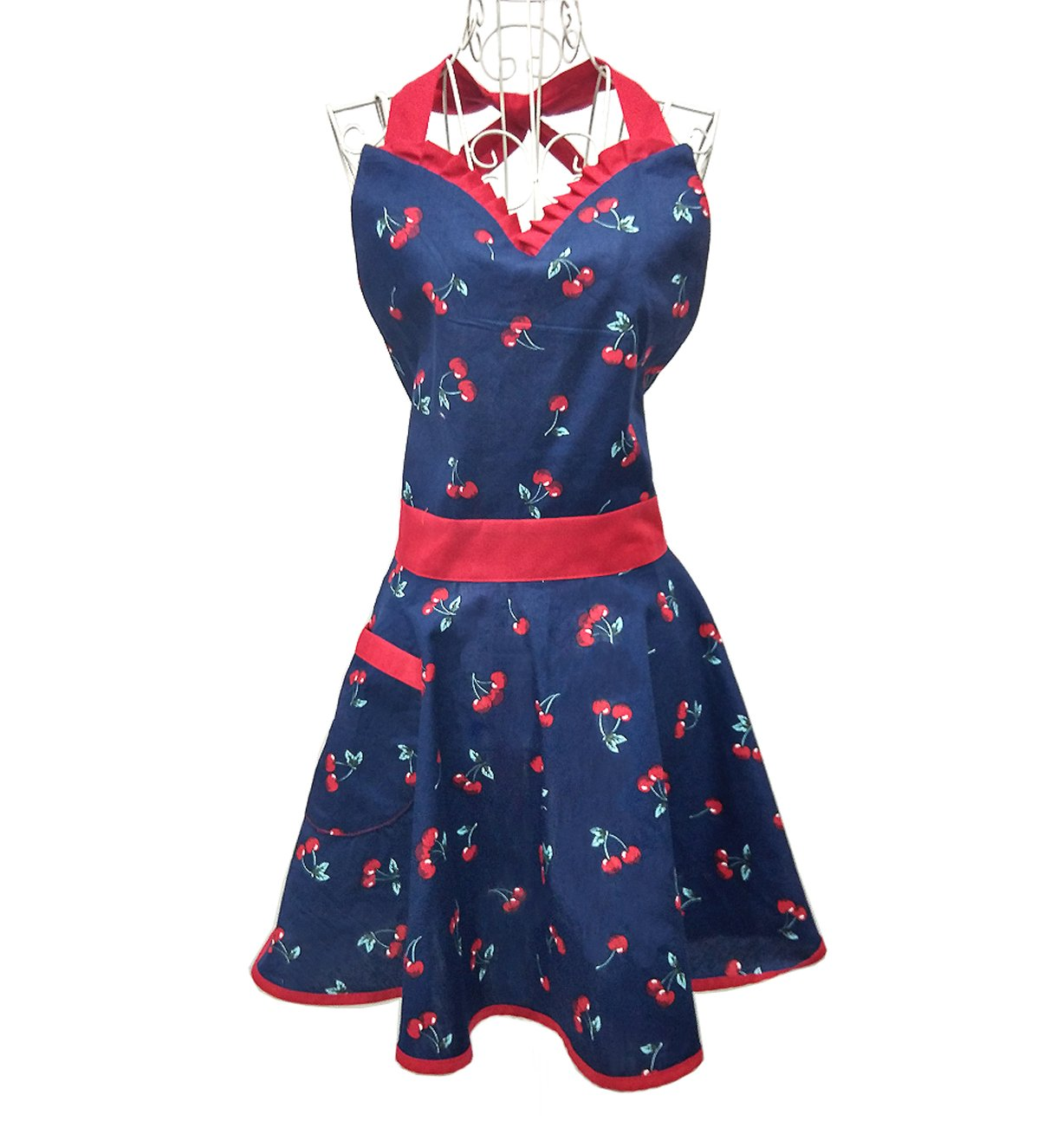 Hyzrz Cute Lovely Lady's Kitchen Fashion Blue Flirty Apron for Women's Girls with Pocket