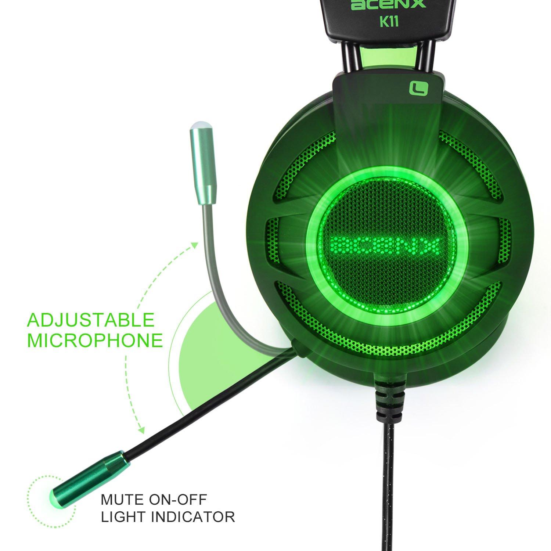 ... Canal de Sonido Surround con diadema vibración con micrófono para ordenador PC Gaming, conexión USB, con micrófono negro y verde: Amazon.es: Electrónica