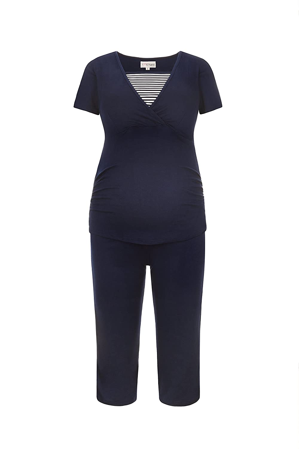 Herzmutter Maternity Pajamas-Nightwear for Pregnant Women - Pajamas-Nightwear Short Style - Out of Viscose, Striped-Maritime lace, Blue and White, 2500_2600
