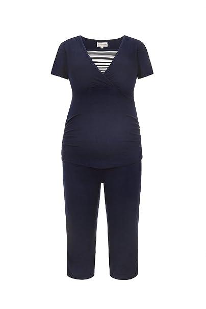 Herzmutter Cómodo Pijama de Lactancia/Pijama de premamá/Pijama para Embarazadas en Corto Rayado