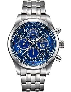 BENYAR Mens Watch Luxury Brand Business Planet Sport Date Waterproof Steel Chronograph Silver Blue Quartz Watch