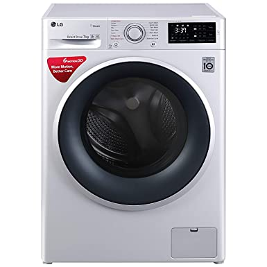 LG 7 kg Inverter Fully Automatic Front Loading Washing Machine  FHT1007SNW.ABWPEIL, Blue and White, Inbuilt Heater  Washing Machines   Dryers