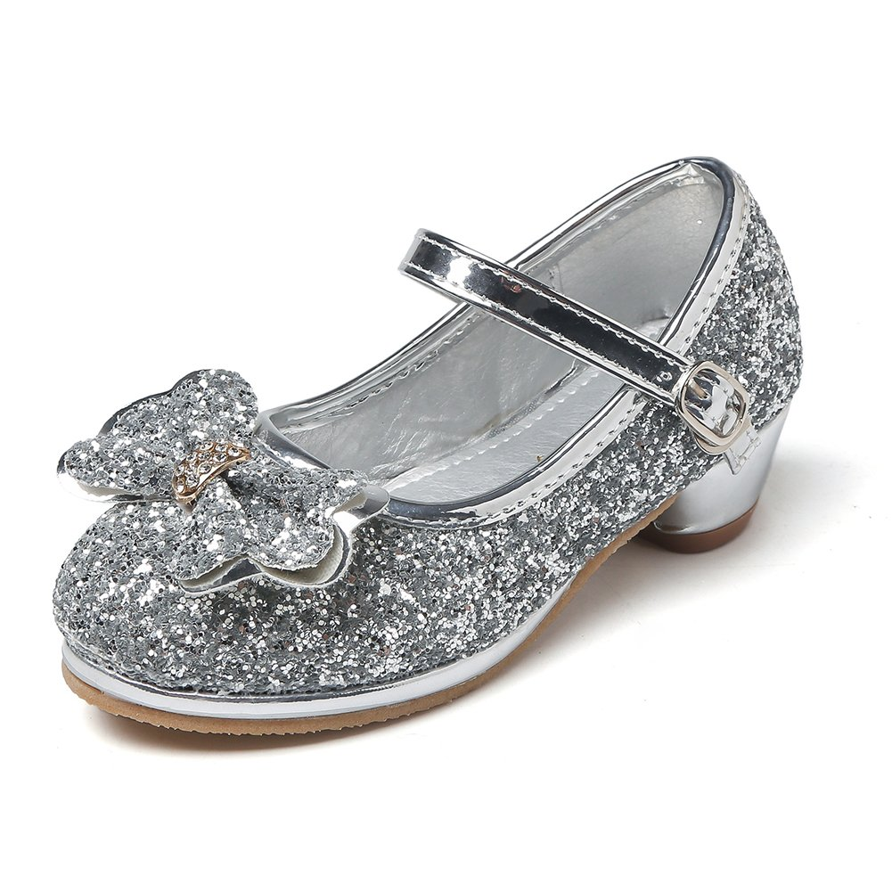Maxu Girl's Sequin Dress Shoes Low Heel Pumps With Bowknot Silver,Little Kid Size 13