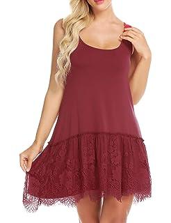 826dec2c73314 Gumod Women s Lace Top Plus Size Casual Basic Tank Vest Lace Extender  Bottom Dress