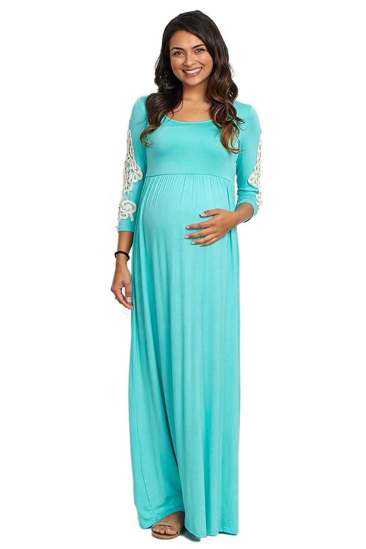 PinkBlush Maternity Crochet Sleeve Maxi Dress at Amazon Women\'s ...