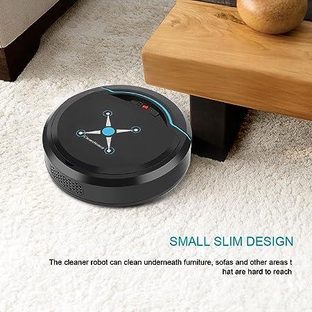 Fdit Aspirador Automático Robot Inteligente Limpiador de Piso Recargable USB Limpiador de Aspiración Robot Máquina de Limpiador para Hogar(Negro): ...