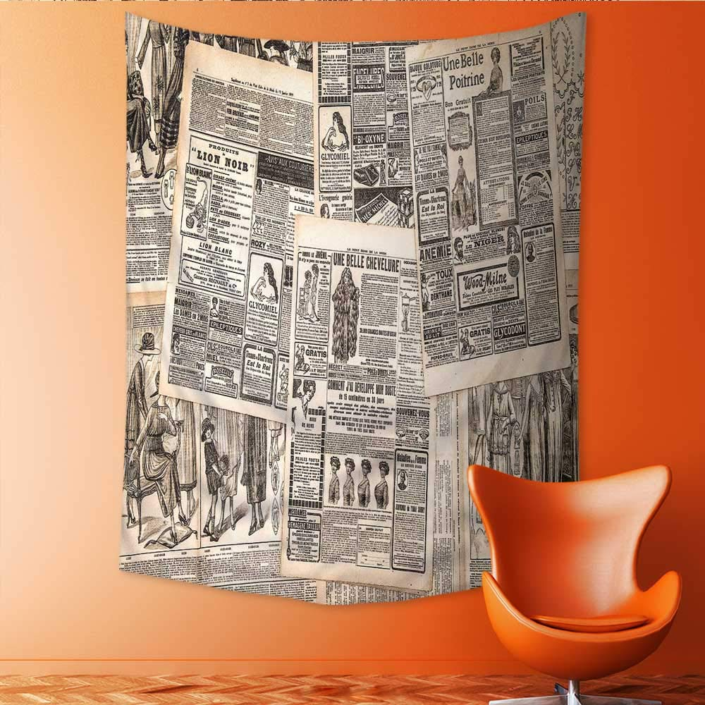 Auraisehome Vertical Version Tapestry Retro Vintage French Newspaper Nostalgic Antique DatedPast ful Design Cream Tan Taupe for Hotel Throw, Bed, Tapestry, or Yoga Blanket 54W x 84L INCH