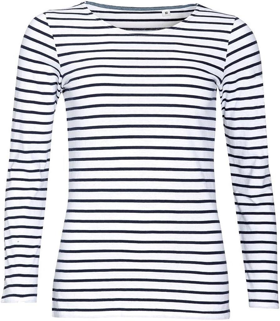 SOLS - Camiseta de manga larga con estampado de rayas modelo Marine para mujer