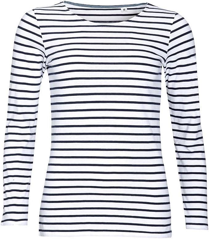 TALLA M. SOLS - Camiseta de manga larga con estampado de rayas modelo Marine para mujer