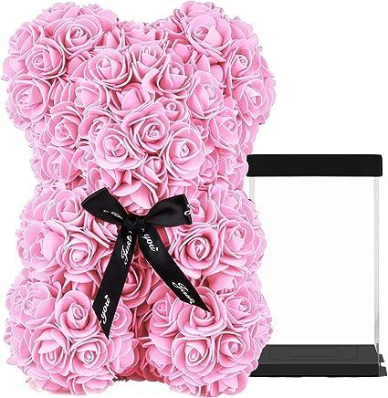25//35cm Rose Mousse Bear cadeau Saint-Valentin anniversaire mariage fête des mères Fleur Teddy