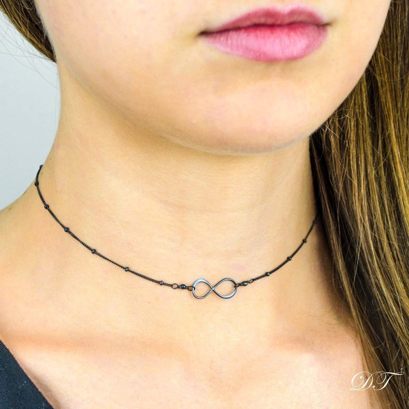 layered necklace Dainty Choker necklace infinity on satellite chain Tiny Infinity Necklace Chain Choker in Black Sterling Silver Black choker Dainty Infinity Choker