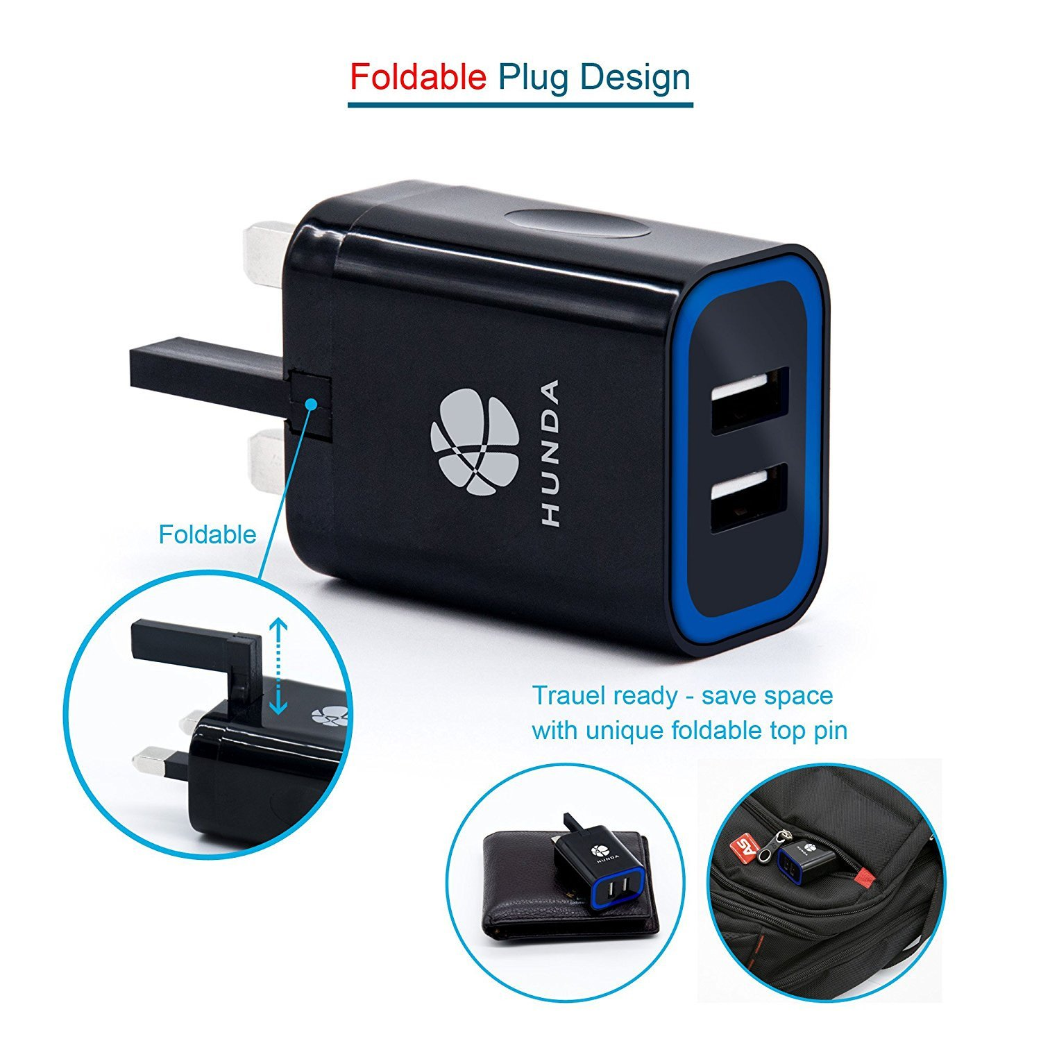 USB Charger Plug Hunda 3.1A 2-Port Mains Wall Charger with Smart IC UK Plug (Travel Adapter, Fast and Safe) for iPhone iPad Samsung HTC Kindle LG Smartphones Tablet & USB Socket Devices