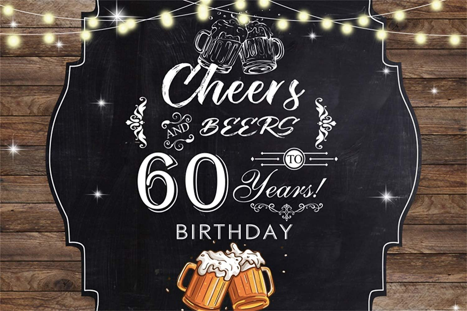 Leowefowa 60th Birthday Backdrop 5x3ft Rustic Retro Wood Plank Beer Cups Cheering Light Decors Happy 60th Birthday Photography Background Old People Birthday Banner Supplies Cake Table Decor Props