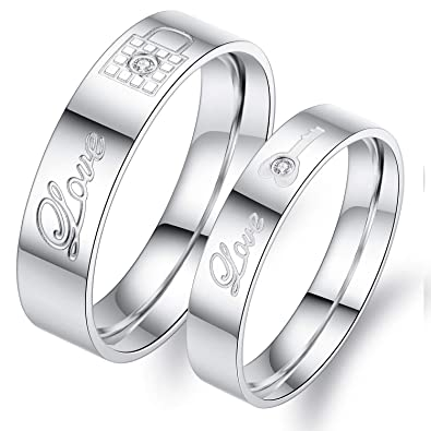 f7540e74d2 Fate Love Jewelry 2pcs Stainless Steel Promise Rings for Couple with Lock  and Key Pattern Silver