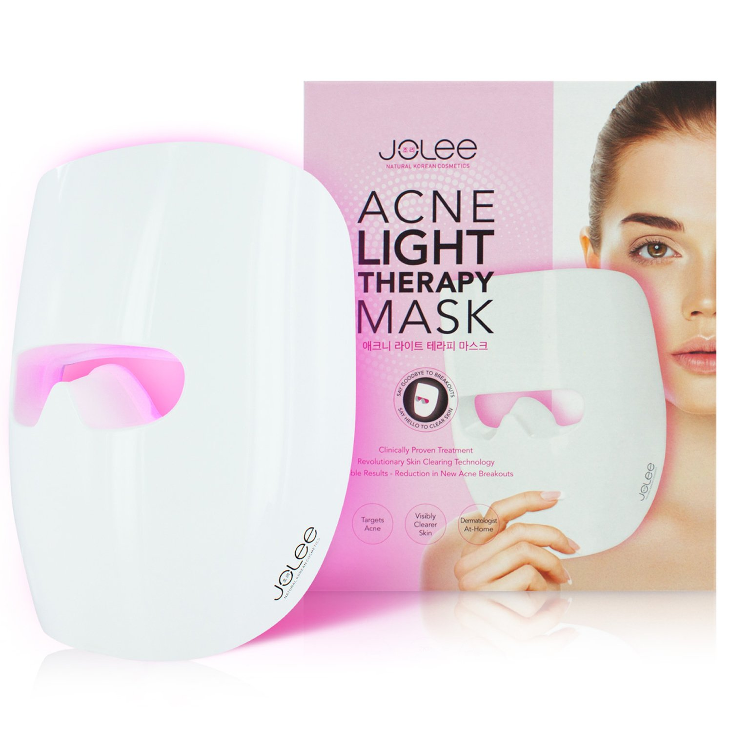 JoLee LED Acne Light Therapy Acne Mask Most Advanced Light Technology [UNLIMITED USES with No Need to Purchase Activators] for Treatment of Mild-to-Moderate Acne, Spots, Blackheads, Skin Blemishes and Reduces the Appearance of Breakouts, Combats Inflammati