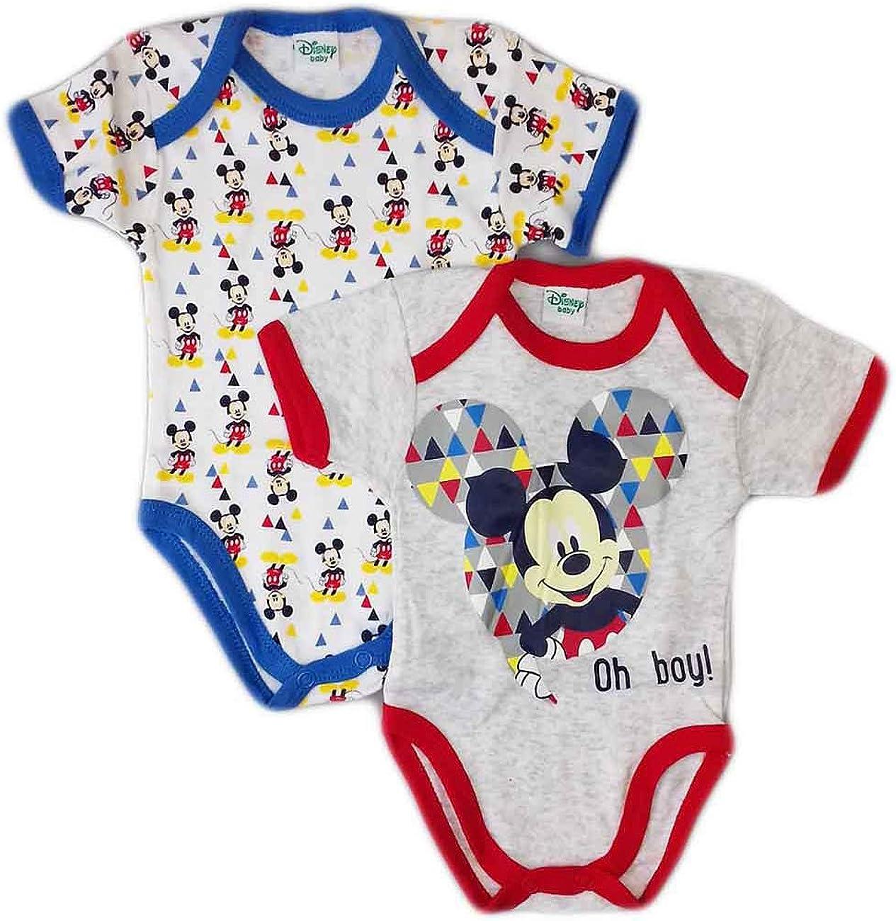 Bi-Pack Body Cotone Bimbo Disney Baby Mickey Azzurro//Rosso o Giallo//Azzurro