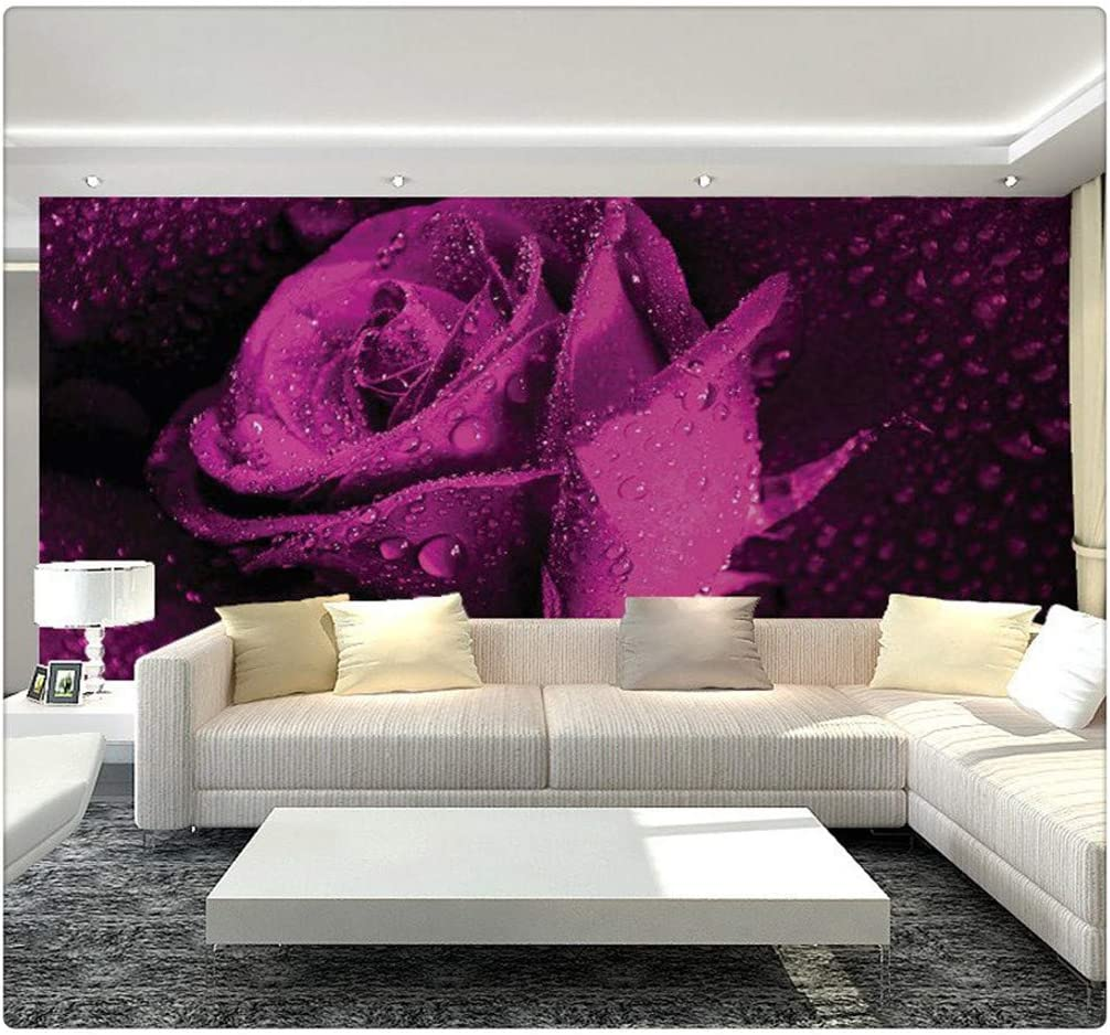 Mural Wallpaper 3d Stereo Non Woven Murals Bedroom Living Room Tv Background Purple Rose Flower 3d Photo Wallpaper Rolls 430cmx300cm Amazon Com