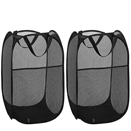 Aifusi 2 Stück Netz Pop-up Wäschekörbe Wäschesammler Wäschebehälter,  Faltbarer Wäschekorb Haltbare Griffe Tragbar Einfach zu öffnen und zu  Falten, ...