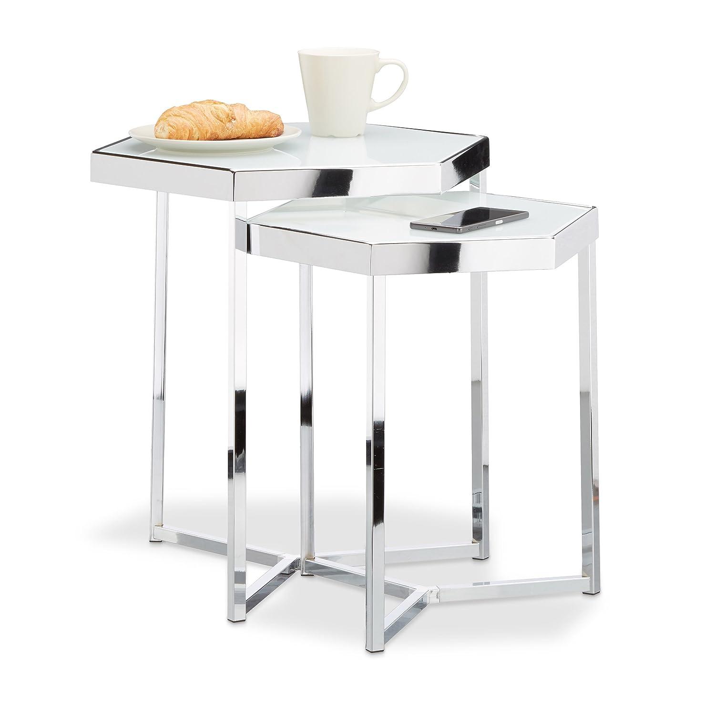 Relaxdays 10021267 Tavolini da Salotto, Argento, 41.5x41.5x50 cm Relaxdays GmbH